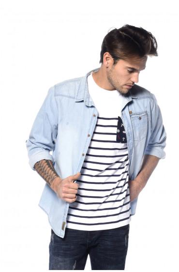 T-shirt rayé avec poche Marin