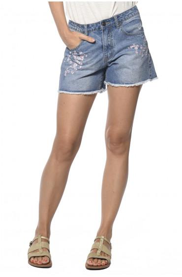 Short en jeans brodé Star