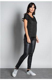 T-Shirt T-SHIRT GLITTER Femme W18113W (37368) - DEELUXE