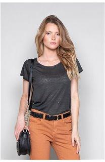 T-Shirt T-SHIRT GLITTER Femme W18113W (37372) - DEELUXE