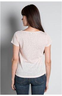 T-Shirt T-SHIRT GLITTER Femme W18113W (37378) - DEELUXE