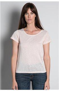 T-Shirt T-SHIRT GLITTER Femme W18113W (37379) - DEELUXE