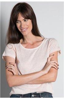 T-Shirt T-SHIRT GLITTER Femme W18113W (37381) - DEELUXE