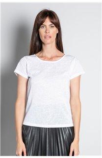 T-Shirt T-SHIRT GLITTER Femme W18113W (37385) - DEELUXE