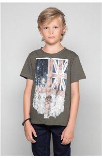 T-Shirt T-SHIRT FLAGY Garçon W18160B (39538) - DEELUXE