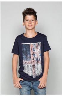 T-Shirt T-SHIRT FLAGY Garçon W18160B (39541) - DEELUXE