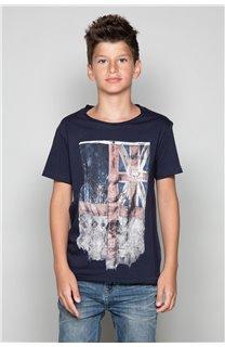 T-Shirt T-SHIRT FLAGY Garçon W18160B (39542) - DEELUXE