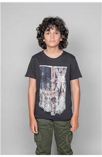 T-Shirt T-SHIRT FLAGY Garçon W18160B (39546) - DEELUXE