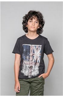 T-Shirt T-SHIRT FLAGY Garçon W18160B (39550) - DEELUXE