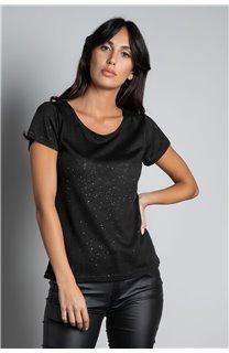T-Shirt T-SHIRT GLITTER Femme W19118W (47883) - DEELUXE