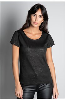 T-Shirt T-SHIRT GLITTER Femme W19118W (47885) - DEELUXE