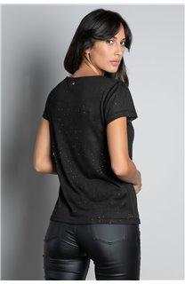 T-Shirt T-SHIRT GLITTER Femme W19118W (47886) - DEELUXE