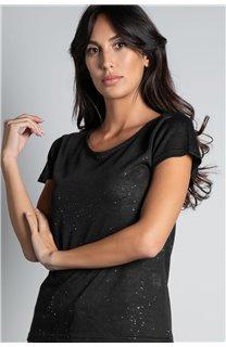 T-Shirt T-SHIRT GLITTER Femme W19118W (47887) - DEELUXE