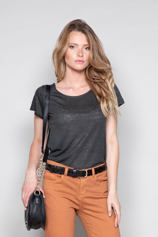 T-Shirt T-SHIRT GLITTER Femme W19118W (47888) - DEELUXE