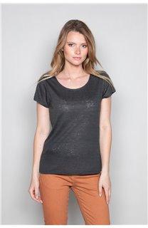 T-Shirt T-SHIRT GLITTER Femme W19118W (47890) - DEELUXE