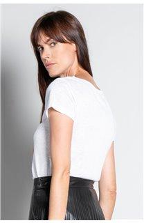 T-Shirt T-SHIRT GLITTER Femme W19118W (47901) - DEELUXE