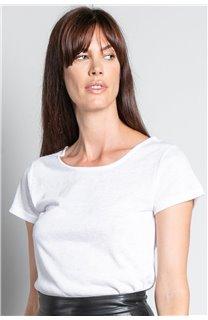 T-Shirt T-SHIRT GLITTER Femme W19118W (47902) - DEELUXE