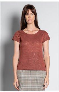 T-Shirt T-SHIRT GLITTER Femme W20118W (55657) - DEELUXE