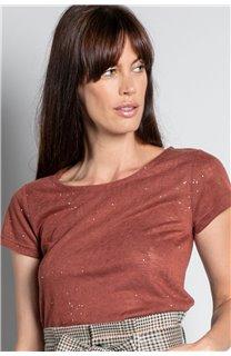 T-Shirt T-SHIRT GLITTER Femme W20118W (55659) - DEELUXE