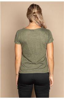 T-Shirt T-SHIRT GLITTER Femme W20118W (55668) - DEELUXE