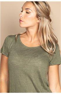 T-Shirt T-SHIRT GLITTER Femme W20118W (55669) - DEELUXE