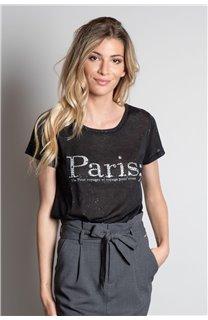 T-Shirt T-SHIRT PARIS Femme W20117W (55807) - DEELUXE