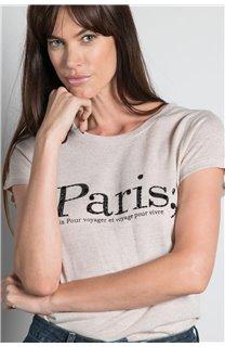 T-Shirt T-SHIRT PARIS Femme W20117W (55814) - DEELUXE