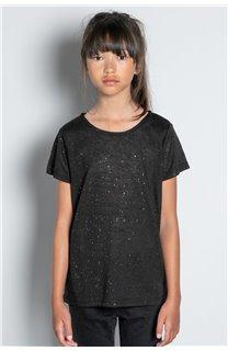 T-Shirt T-SHIRT GLITTER Fille W20118G (57150) - DEELUXE