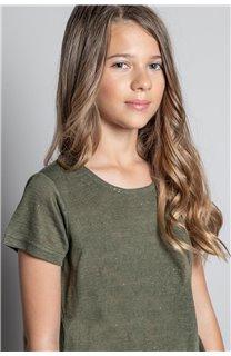 T-Shirt T-SHIRT GLITTER Fille W20118G (57153) - DEELUXE