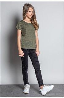 T-Shirt T-SHIRT GLITTER Fille W20118G (57154) - DEELUXE