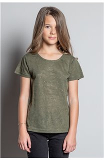 T-Shirt T-SHIRT GLITTER Fille W20118G (57155) - DEELUXE