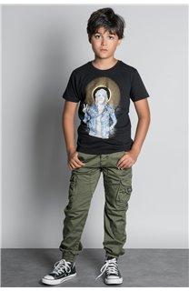 T-Shirt T-SHIRT NEVERMIND Garçon W20183B (58669) - DEELUXE
