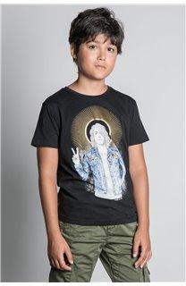 T-Shirt T-SHIRT NEVERMIND Garçon W20183B (58670) - DEELUXE