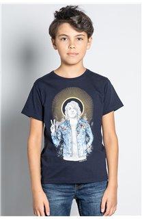 T-Shirt T-SHIRT NEVERMIND Garçon W20183B (58675) - DEELUXE