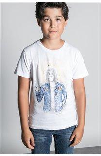 T-Shirt T-SHIRT NEVERMIND Garçon W20183B (58678) - DEELUXE