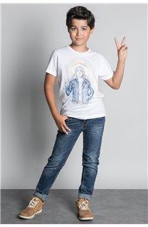 T-Shirt T-SHIRT NEVERMIND Garçon W20183B (58679) - DEELUXE