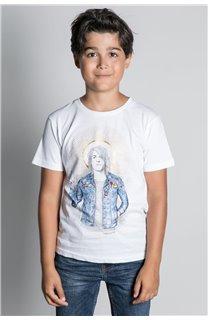 T-Shirt T-SHIRT NEVERMIND Garçon W20183B (58680) - DEELUXE