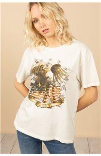 T-Shirt T-Shirt BIRD Femme S21157W (60101) - DEELUXE