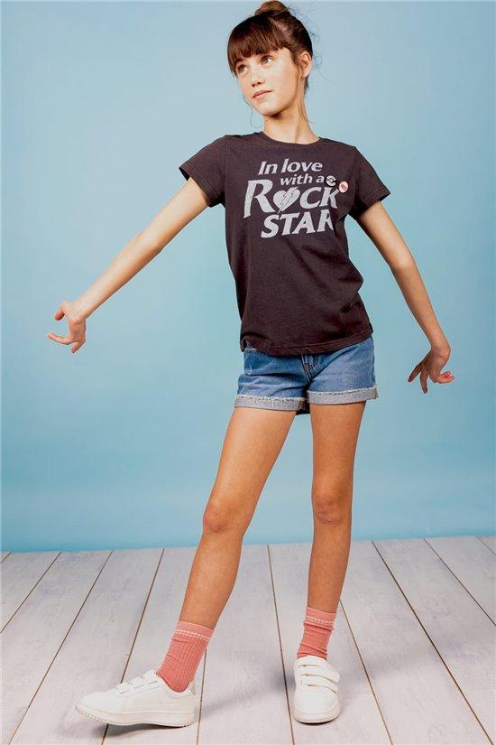 T-Shirt T-Shirt ROCKSTAR Fille S21152G (60568) - DEELUXE