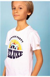 T-Shirt T-Shirt PARTY Garçon S21174B (61423) - DEELUXE